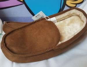 Big Boys Size 6 Sherpa Lined brown slipper loafers